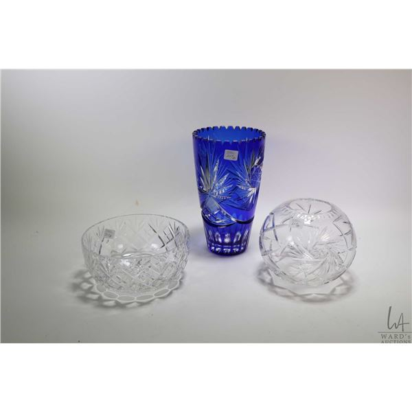 """Three pieces of crystal incuding cobalt cut to clear flower vase 10"""" in height, a pinwheel rose bowl"""