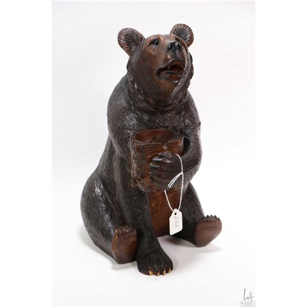 Vintage/antique Black Forest hand carved bear motif humidor with inset glass eyes and attached match