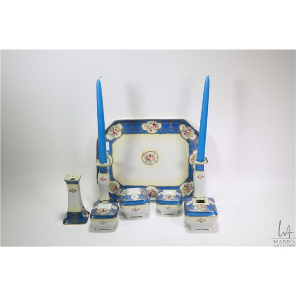 Antique hand painted Nippon dresser tray with matching lidded dresser jars, powder box and hair rece