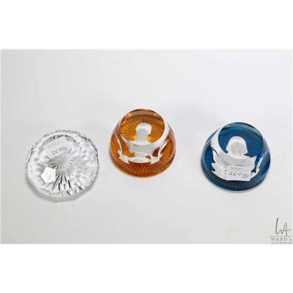 Three collectible glass paperweight including a Joan of Arc and a Simon Bolivar by Franklin Mint and