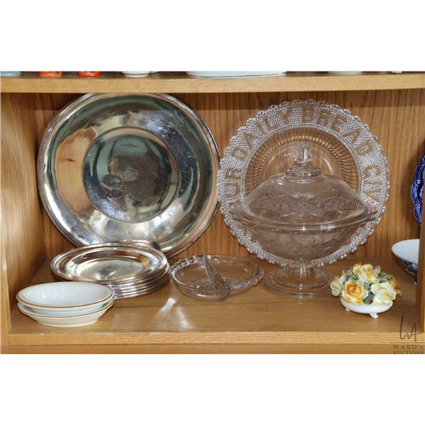 Shelf lot of collectibles including flow blue Royalty plate featuring King Edward VII, lidded ruby g