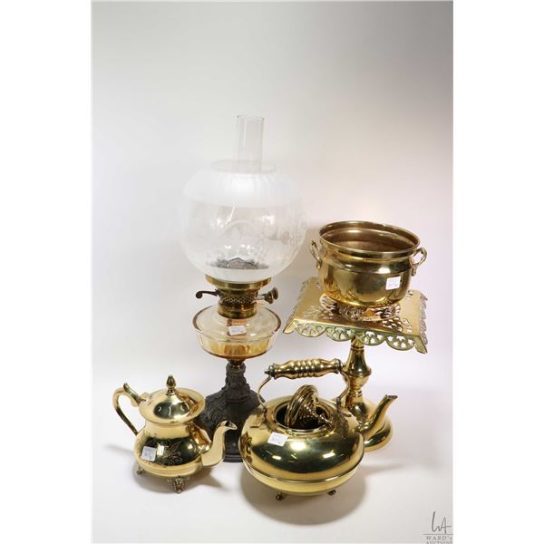Selection of brass and copper collectibles including copper teapot and bed warmer plus a brass kettl