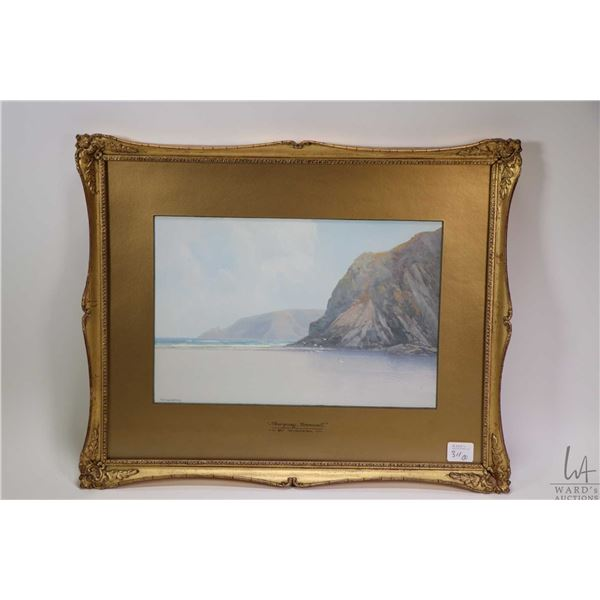 """Two antique gilt framed original watercolour paintings including """"Newquay, Cornwall"""" artist signed F"""