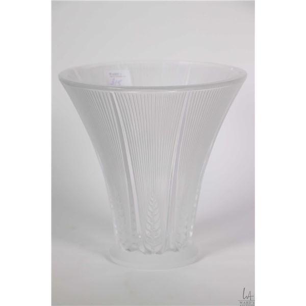 """Signed Lalique, France """"Epis"""" 6 1/2"""" flower vase"""