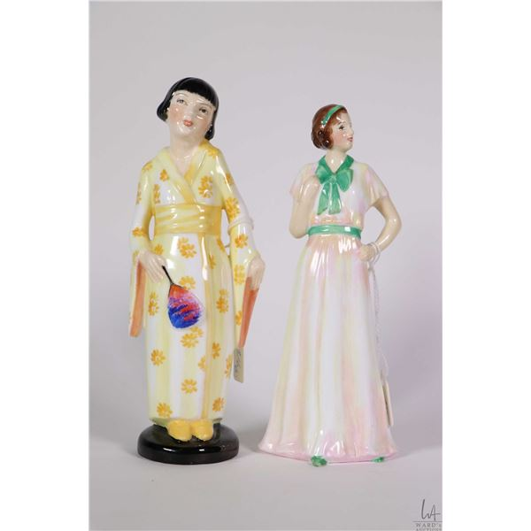 """Two small Minton china figurines including """"Mimosa, modelled by Eric Own"""" and """"Dinnie"""" modelled by R"""
