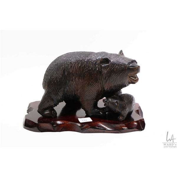 """Artisan made, hand carved bear and cub both with inset glass eyes and large bear with inset teeth 8"""""""