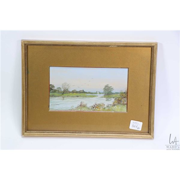 Two small antique gilt framed original watercolour paintings of English landscape and lake scenes si