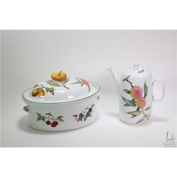 """Two pieces of Royal Worcester Evesham including 10"""" oval lidded casserole and a coffee pot"""