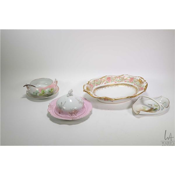 Selection of vintage and antique china collectibles including rose motif Limoges cocoa pot with hand