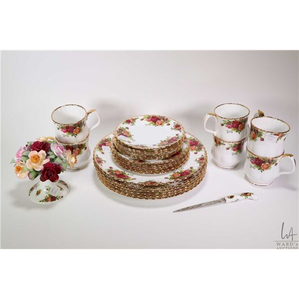 """Royal Albert """"Old Country Roses"""" china dinnerware with settings for six including dinner plates, sid"""
