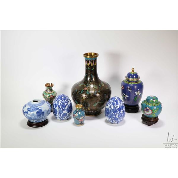 """Tray lot of collectibles including 10"""" Cloisonne vase, two cloisonne lidded jars, two small miniatur"""