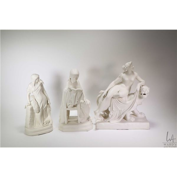 """Three small statues including white porcelain woman with sheath of wheat 12"""" in height plus two whit"""