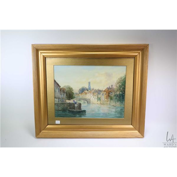 Vintage/antique gilt framed watercolour painting of a Dutch canal scene and signed by artist C.M. Wi