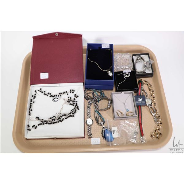 Tray lot of collectible quality costume jewellery including Swarovski necklaces, a pair of 10 kt yel