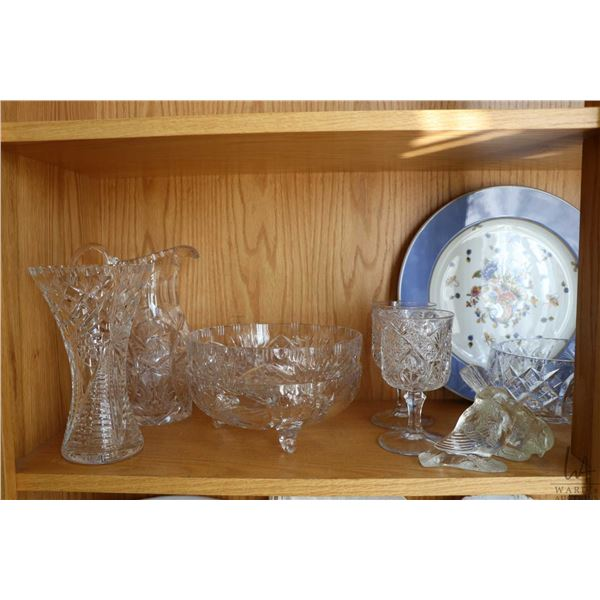 Shelf lot of crystal and porcelain including three bowls and eleven plates of Limoges handpainted po