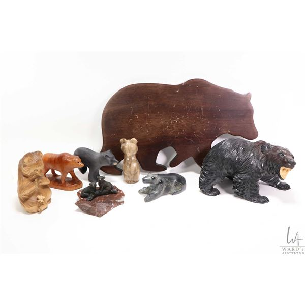 """Tray lot of collectible bear figures including 8"""" treenware hand carved bear with artist initals, tw"""