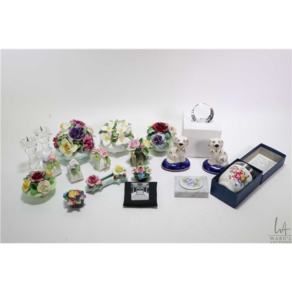 Large selection of cabinet collectibles including Radnor, Royal Adderley, Coalport floral etc. Royal