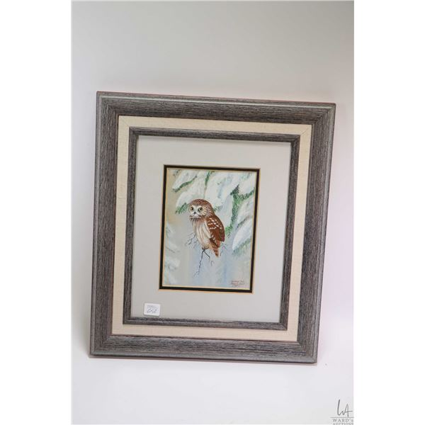 """Framed watercolour-gouache painting of an owl titled on verso """"Saw Whet Owl"""" and signed signed Edgar"""