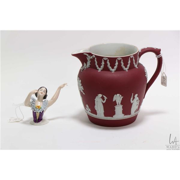 """Vintage Wedgwood pitcher 5"""" in height and a pincushion doll head with lace draped collar and arms aw"""