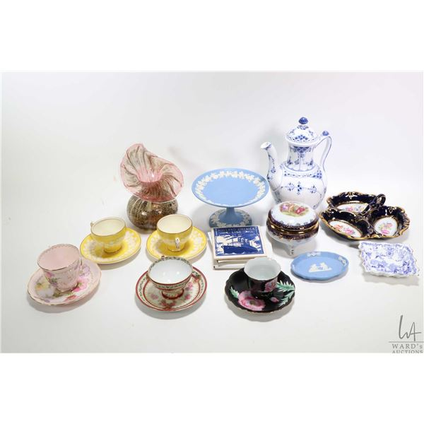 """Selection of china and glass collectibles including Royal Copenhagen 9 1/2"""" blue and white teapot, W"""
