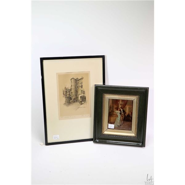 """Two framed artworks including antique etching """"Smolletts Lodging, Edinburgh"""" by Marjorie C. Coates 8"""