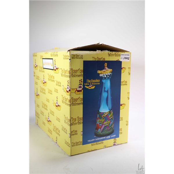 Beatles themed Yellow Submarine lava lamp, from the Lyon Company with original box, appears new