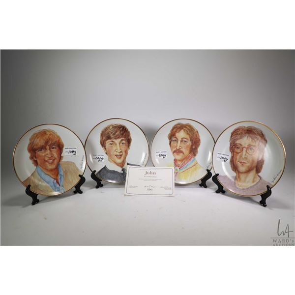 Selection of John Lennon collectibles including four plates by Cynthia Lennon for the Danbury Mint