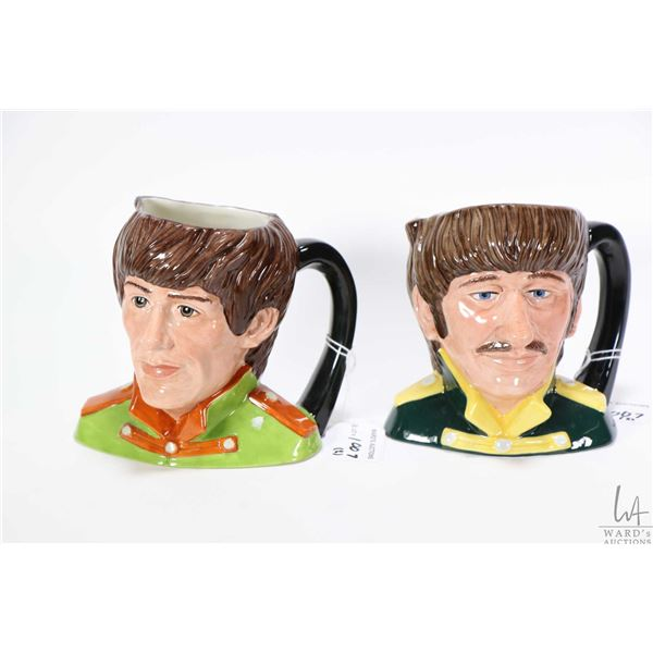 Two Royal Doulton character jugs The Beatles George Harrison D6727 and The Beatles Ringo Starr D6726
