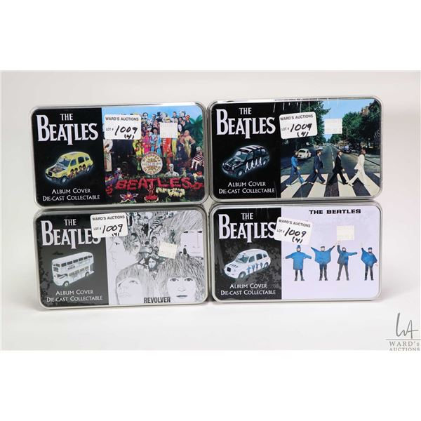 Four aluminium tinned die cast Beatles cars including Abbey Road, Revolver etc.
