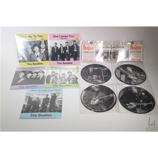 Nine 45 rpm Beatles singles including packaged 4 pce. pictorial commemorating their 1964 arrival in