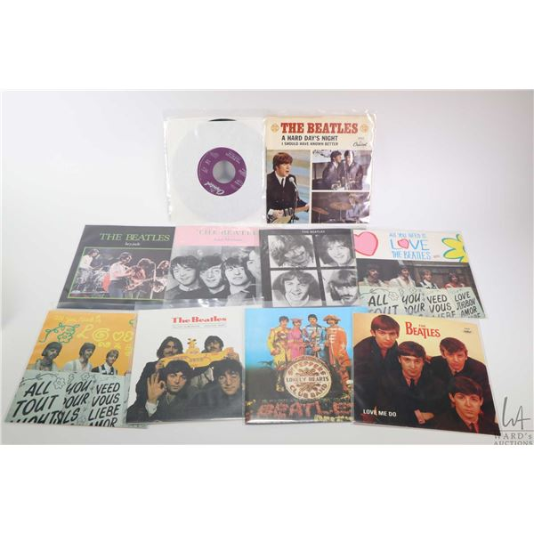 """Ten 45 rpm Beatles singles including """"All You Need is Love"""", """"Hard Days Night"""", """"Love Me Do"""", """"Hello"""