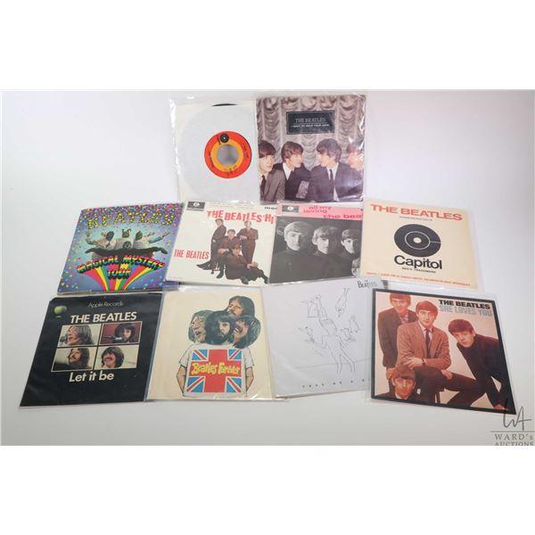 "Ten 45 rpm Beatles singles including ""Beatles Forever"", ""Let it Be"", "" I Feel Fine"", ""No Where Man"","