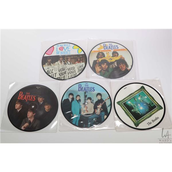 """Five 45 rpm Beatles picture disc Beatles singles including """"All You Need is Love"""", """"Yellow Submarine"""