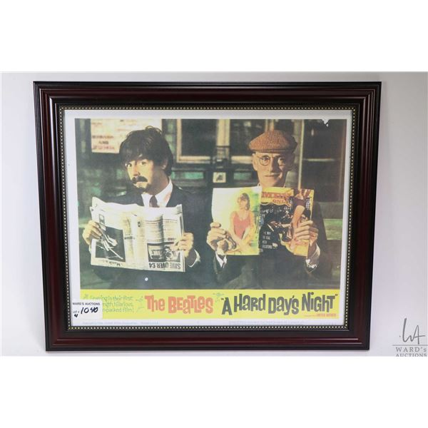 Four framed reprints of the Beatles Hard Day's Night theatre lobby cards