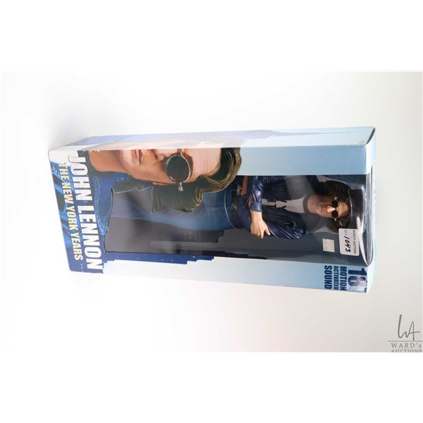 """Boxed 18"""" John Lennon motion activated """"The New York Years"""" by Neca and a hardcover copy of """"Lennon"""