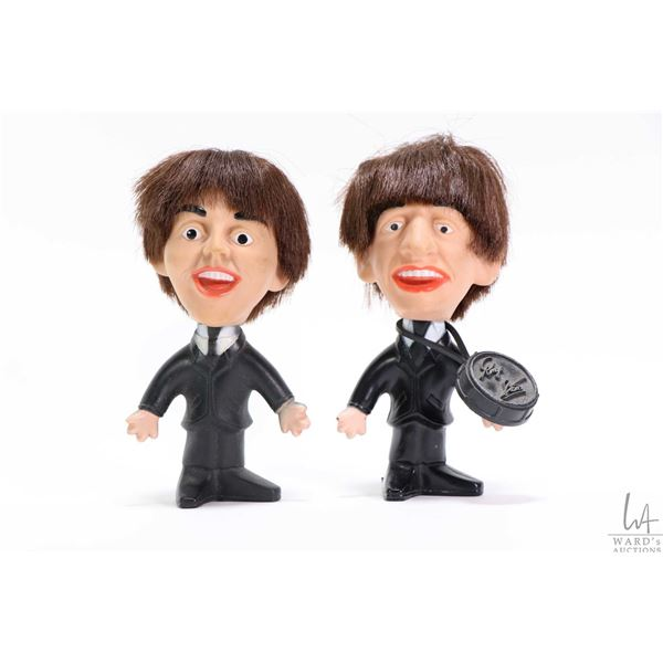 Two vintage Beatles figures manufactured by Remco including plastic Ringo Starr complete with drum a