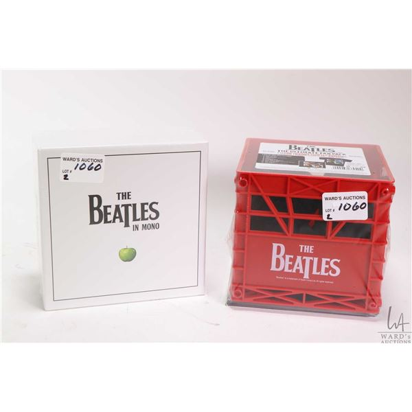 Two Beatles collector sets including The Ultimate Fan Pack with Let it Be CD, a miniature Beatles br
