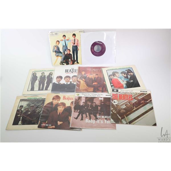 """Ten 45 rpm Beatles singles including """"Love Me Do"""" for Juke boxes only, """"All You Need is Love"""", """"Plea"""