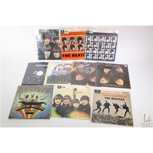 """Ten 45 rpm Beatles singles including """"Magical Musical Tour"""" with multi page liner notes booklet, """"Tw"""