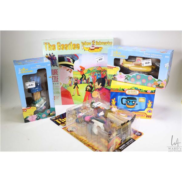 Five new in package Yellow Submarine collectibles including 500 pce puzzle, Paul with Capt. Fred act