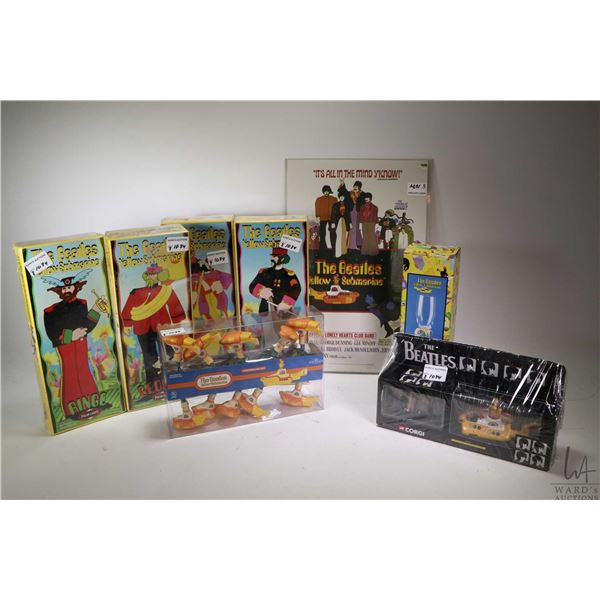 Selection of Beatles Yellow Submarine collectibles including four new in package all plastic band me