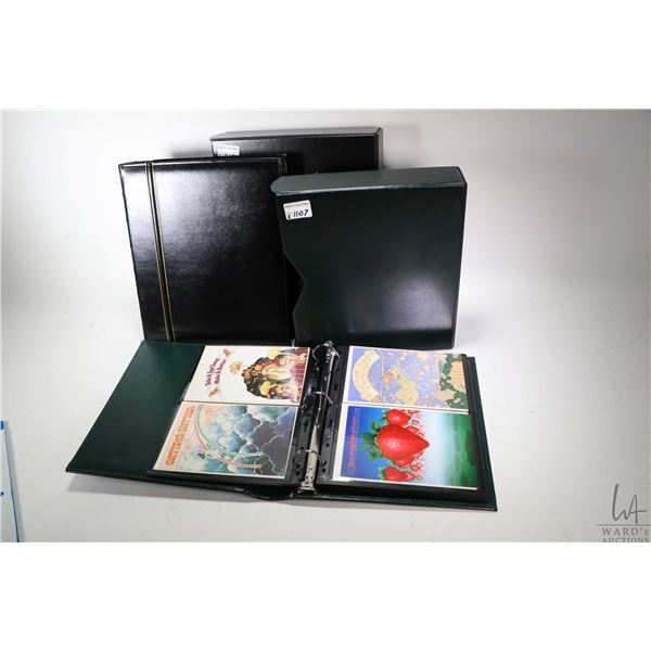 Two three ring binders containing Beatles themed note cards including promo photos, song themed etc.