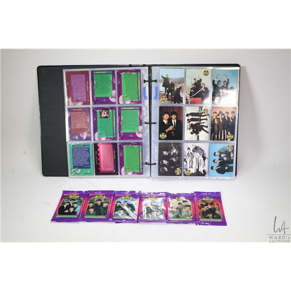 Binder with approximately 225 black & white and colour Beatles collector cards plus six unopened 10