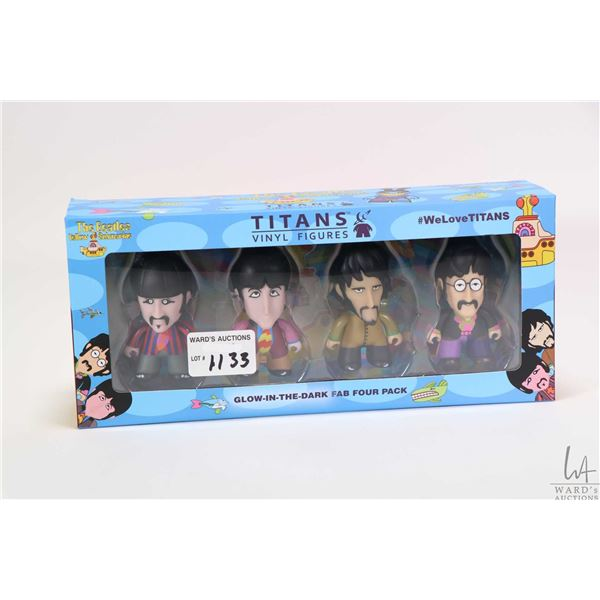 """Boxed set of Titans Vinyl figures """"The Beatles Yellow Submarine"""" including all four 2 1/2"""" figures"""