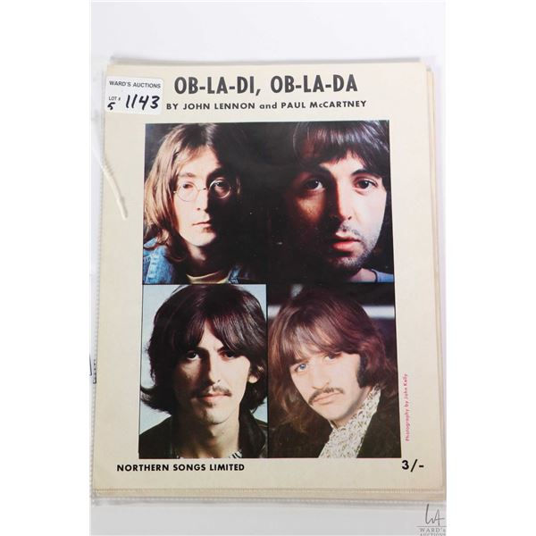 """Five copies of vintage Beatles sheet music including """"Happiness Is a Warm Gun"""", """"Dear Prudence"""", """"Ob"""