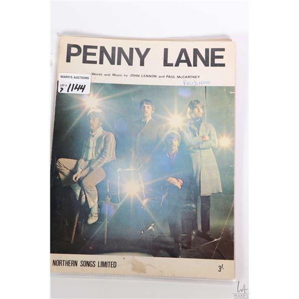 "Seven copies of vintage Beatles sheet music including ""Hey Dude"", ""Maxwell Silver Hammer"", ""Penny La"