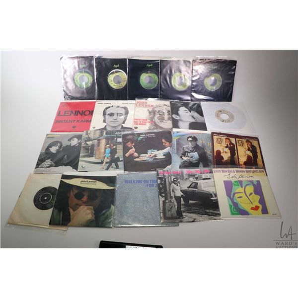 Large selection of vintage 45 rpm singles by John Lennon and Yoko Ono including Stand by Me, # 9 Dre