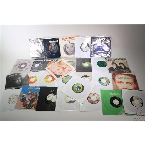 "Twenty eight 45 rpm singles including George Harrison ""My Sweet Lord"" UK pressing, Mary Hopkin ""Knoc"