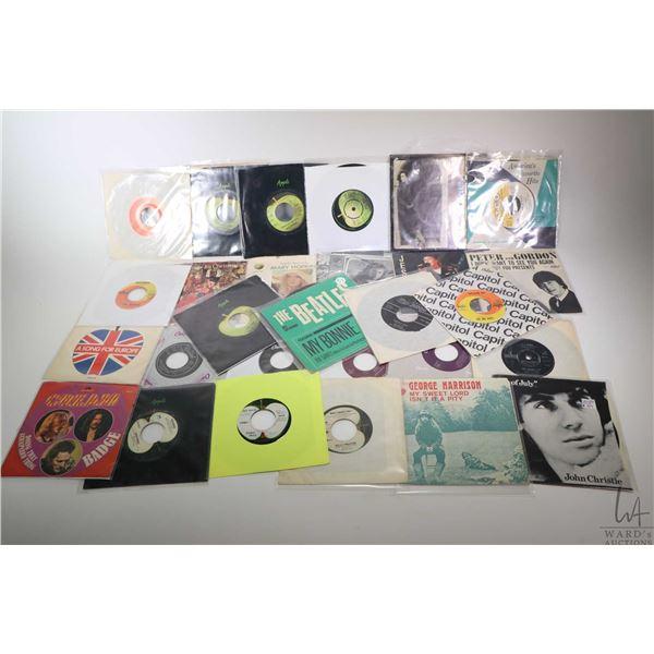 Large selection of vintage 45 rpm singles including The Silver Beatles ( Paul McCartney, John Lennon