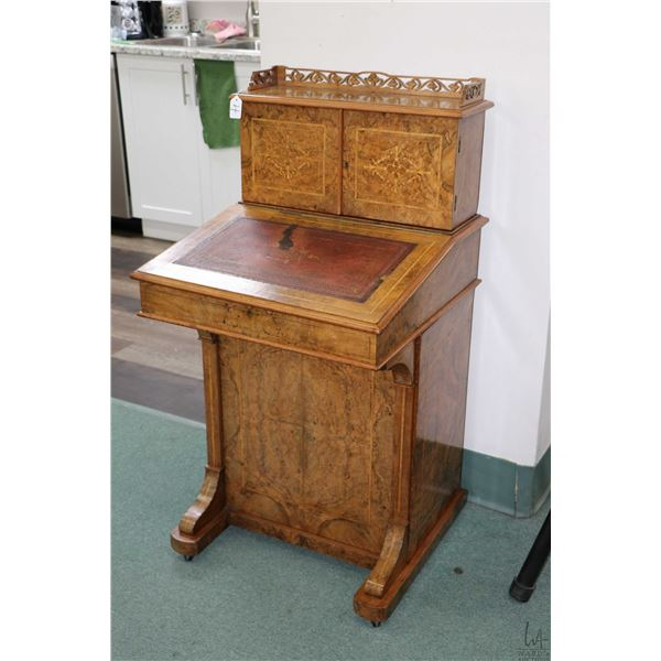 Antique Victorian burled walnut davenport desk with fitted upper two door galley, four drawer in bas